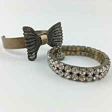 PAIR of ABERCROMBIE & FITCH Bracelets RHINESTONE Studded Stretch Bronze BOW Cuff