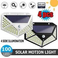 4x100 LED Solar Power Light PIR Motion Sensor Garden Waterproof Wall Lamp