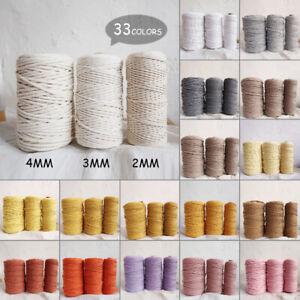 2-4mm Macrame 100% Cotton Cord String Rope Craft Knitting Crochet 100m Length