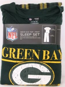 NEW Green Bay Packers NFL Team Apparel Sleepwear SS Shirt Pants Pajamas Men's L