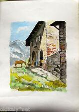 Acquerello '900 su carta-Casa di montagna con cavallo -firmato A.Bergamo (16)