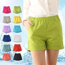 Plus Size Loose Mid-waist Pants Cotton Candy Color Shorts Elastic