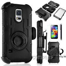 Black Heavy Duty Rugged Hard Case Cover +Belt Clip Holster For SAMSUNG Galaxy S5