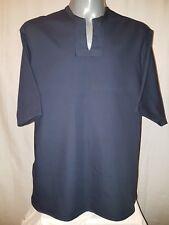 UNISEX - Navy Blue Shirt / Top. Unique Open Neck Deep V, Curve Side. Loose fit.