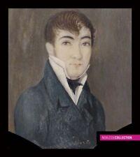 ANTIQUE ORIGINAL 1830s FRENCH MINIATURE PAINTING WATERCOLOR Portrait
