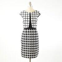 Antonio Melani Dress 10 Black & White Mixed Plaid Cap Sleeve Fitted Sheath