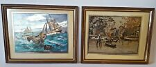 LIONEL BARRYMORE Art PRINTS Foil Etch Nautical fishing bank Sailboat Vintage