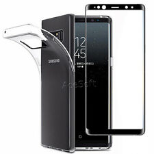 Tempered Glass Screen Protector Guard Shield Soft Case for Samsung Galaxy Note 8