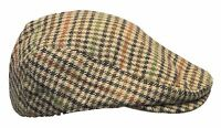 Tweed Mixed Wool Check Flat Cap Country Style Hat - Brown and Beige S M L XL