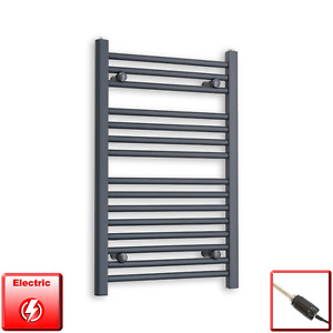 500mm Wide 800mm High Flat Anthracite Pre-Filled Electric Towel Rail Radiator