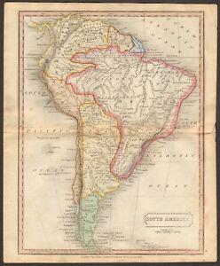 1815 ca ANTIQUE MAP - HAND COLOURED - SOUTH AMERICA