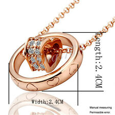 18K Rose Gold Filled Multiple Heart Crystal in Circle + Necklace Chain Set  H035