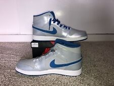 Air Jordan 1 Mid Wolf Grey / Sport Blue SZ 13 High Off White University Blue