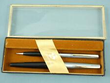 Vintage Sheaffer Stylist 440 Black/Steel Fountain Pen Set,GT,Silver Nib *Nr MINT