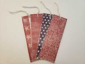Bookmarks Set Of 4 Stars Red Blue Stationary Reading Read Books #124