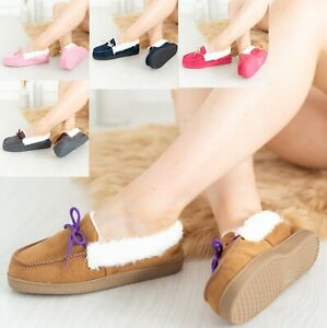 LADIES WOMENS FLAT WARM MOCCASIN INDOOR OUTDOOR SOFT BED TIME SLIPPERS SHOES SZ