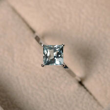 1.50 Ct Princess Natural Diamond Aquamarine Wedding Ring 14K White Gold Size L M