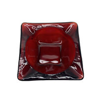 Vintage Ruby Red Glass Ashtray Square MCM Mid Century Modern