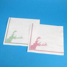 1000 Tissue Servietten Zellstoffservietten Hirsch Motiv rot+grün 33x33cm 3lg 1/4
