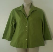 Jones New York Non-Iron Solid Green 3/4 Sleeve Button Top Blouse Plus Size 16