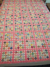 """Vintage Hand Made YoYo Rosettes Quilt Coverlet 75"""" X 57"""""""