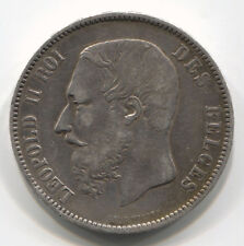 KINGDOM OF BELGIUM 5 FRANCS 1875 LEOPOLD II SILVER