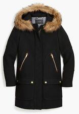 JCrew Chateau Parka Italian Stadium Cloth Wool Coat Sz 4 BLACK G9093