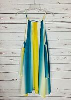 Entro Boutique Women's S Small White Yellow Blue Sleeveless Summer Tunic Dress