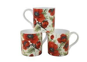 Rubyspoon Set of 3 'Poppy' Oversized Fine Bone China Mugs 425ml Gift Set