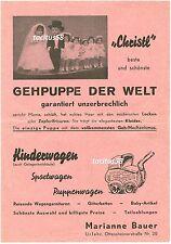 """Schöne Reklame Gehpuppe """"Christl"""" Kinderwagen Puppenwagen ca. 40er 50er Urfahr"""