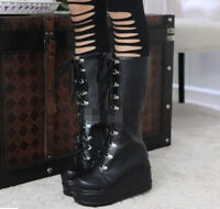 Women's Mid Calf Knee High Lace Up Platform Goth Punk Combat Military Boots Chic