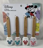 "Disney Mickey Minnie Mouse 4 Piece Flower Spatula Set 8"" Silicone- Wood Handles"
