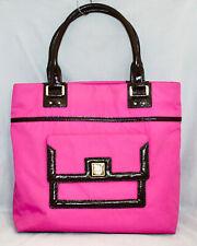 KATE SPADE Pink Nylon Turn Lock Pocket Tote PXRU0736 Brown Patent Lthr Trim