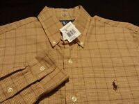 NWT Ralph Lauren Mens Small Custom Fit L/S Button-Down Brown Plaid Shirt New