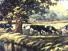 """Danbury Mint River Place Plate Farmstead Reflections Bonnie Mohr Cows 8"""" #1204"""