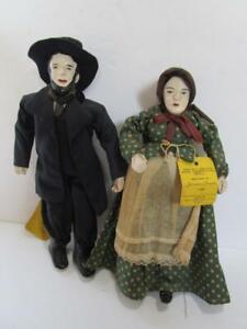Vintage 1946 Hand Made Johanna Chavren Utah Mormon Pioneer Doll Man Woman Pair