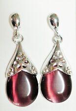 Purple Opaque Glass & Silver Tone 4cm Drop Earrings ( Butterfly Fastening )