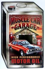 MUSCLE CAR GARAGE HIGH PERFORMANCE MOTOR OIL, METAL SIGN, AGED LOOK,470X305