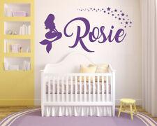 Personalised Name Mermaid Vinyl Wall Art Sticker, Stars, Bedroom Nursery Kids