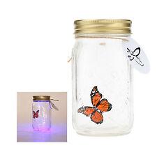 LED Flying Butterfly Bottle Glass Jar Night Light Romantic Home Decor Gift New
