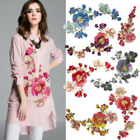 Peony Embroidery Patch Sew On Badge DIY Clothes Dress Fabric Applicque Craft AU