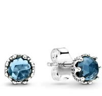 Authentic Pandora 298311NMB Charm Silver 925 Blue Sparkling Crown Stud Earrings