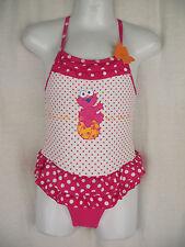 BNWT Girls Sz 2 Elmo Pretty Pink Polka Dot & Ruffle One Piece Swim Suit Bathers