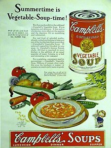 CAMPBELL'S VEGETABLE SOUP 1928 CAMPBELL Vintage Advertising Print Ad Matted