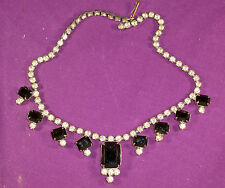 VINTAGE MID CENTURY RHINESTONE/JET GLASS LARGE EMERALD CUT STONES NECKLACE ADJ