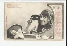 cartolina calendario mese febbraio fevrier  1904 carneval carnevale