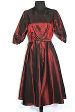 RARE EXCEPTIONAL VINTAGE 1950'S RED SILK SATIN TAFFETA COCKTAIL DRESS SZ 6-8