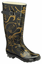 LADIES WELLINGTONS BOOTS WOMENS GIRLS RETRO HEELS SNOW FESTIVAL WELLIES SHOES