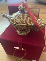 "Vintage Dillards Cloissone Ornament ""genie Lamp"""