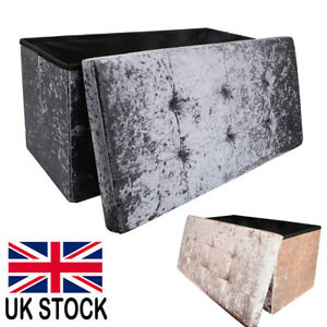 Large Ottoman 2 Seat Foldable Double Bed Storage Box Foot Stool Rest Furniture